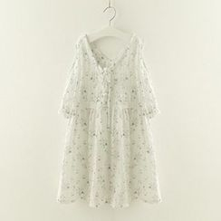 Meimei - Floral Print Elbow Sleeve Cold Shoulder Tunic