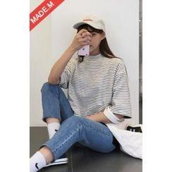 MICHYEORA - Mock-Neck Stripe T-Shirt