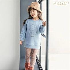 LILIPURRI - Girls Set: Brushed Fleece Sweatshirt + Floral Print Leggings