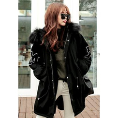 REDOPIN - Faux-Fur Hooded Coat
