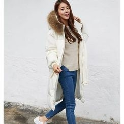 Dream Girl - Furry Trim Hooded Long Padded Jacket
