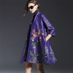 Elabo - Floral Embroidered Open Front Jacket