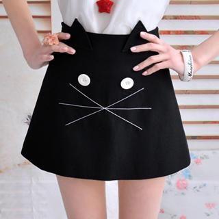 Dabuwawa - Cat-Print Miniskirt
