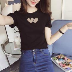 Imogen - Heart Mesh Inset Short Sleeve T-Shirt