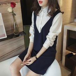 lilygirl - 細條紋假兩件連衣裙