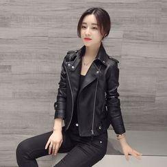 Sienne - Faux Leather Biker Jacket