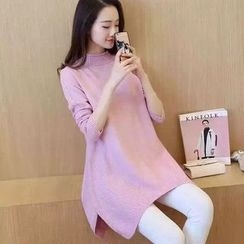 lilygirl - Mock Neck Long Sweater