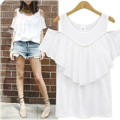Coronini - Short-Sleeve Shoulder Cut Out Ruffle T-Shirt