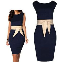 Forest Of Darama - Sleeveless Tie-Waist Sheath Dress