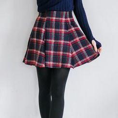 Tokyo Fashion - Pleated Plaid Mini Skirt