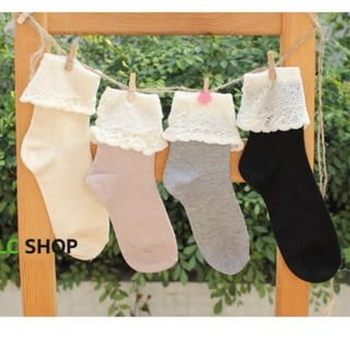 Lazy Corner - Lace-Trim Socks