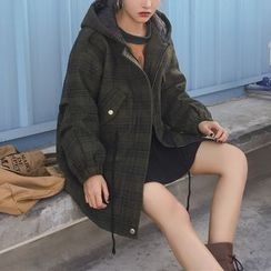 Enocula - Plaid Hooded Zip Coat