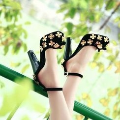 YOUIN - Chunky-Heel Rosette Bow-Accent Sandals