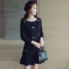 Munai - Long-Sleeve Ruffled Dress