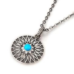 MBLife.com - Left Right Accessory - 925 Sterling Silver Boho Style Turquoise Circle Necklace (21 Inches)