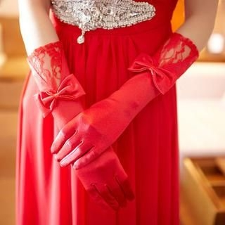 Luxury Style - Bow-Accent Bridal Gloves