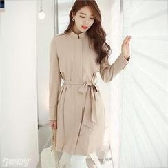 Romantic Factory - Mandarin-Collar Fly-Front Trench Coat
