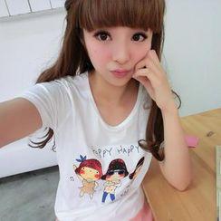59 Seconds - Short-Sleeve Girl Print T-Shirt