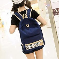 Miss Sweety - Appliqué Printed Canvas Backpack