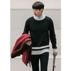 GERIO - Round-Neck Contrast-Trim Sweater