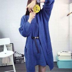 Ichiyarn - Set: Plain Long Cardigan + Knit Tank Dress
