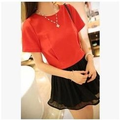 Dora - Short-Sleeve Cropped Chiffon Top