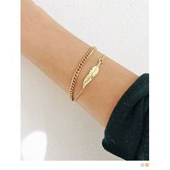 PINKROCKET - Leaf-Accent Layered Bracelet