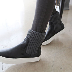 DAILY LOOK - Knit-Trim High-Top Slip-Ons
