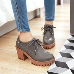 天姿 - 厚底粗跟系带鞋