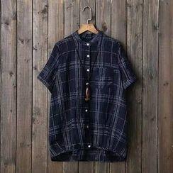 Storyteller - Plaid Linen Cotton Short-Sleeve Blouse