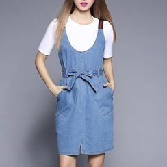 Rosesong - Bow Accent Dungaree Dress