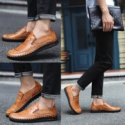 HANO - Woven Faux Leather Loafers