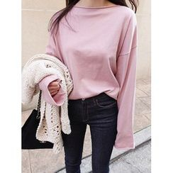 maybe-baby - Boat-Neck Loose-Fit Top
