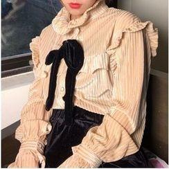 Octavia - 荷葉邊絲絨襯衫