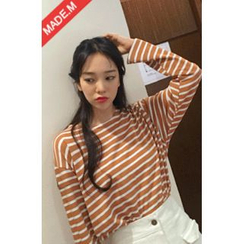 MICHYEORA - Round-Neck Colored Stripe T-Shirt