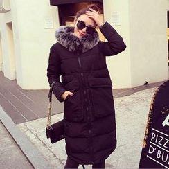 lilygirl - Faux Fur Trim Padded Coat