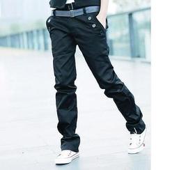 Evolu - Straight Cut Pants with Belt