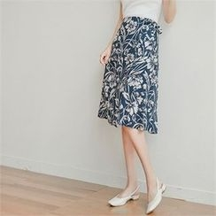 Styleberry - Tie-Waist Floral Print Midi Skirt