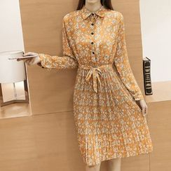 Fashion Street - Floral Print Long-Sleeve Shirtdress