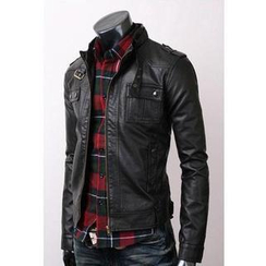 Evolu - Belted Collar Faux Leather Jacket