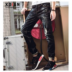Dot2Dot - Distressed Washed Straight Leg Jeans