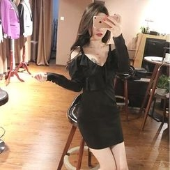 Mi Camilla - Cutout-Shoulder Ruffle Sheath Dress