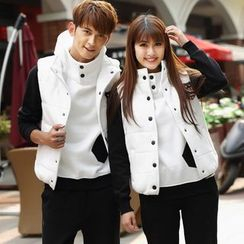 Igsoo - Set: Matching Couple Hooded Pullover + Sweatpants + Padded Vest