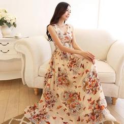 Cerise - Floral Print V-neck Sleeveless Chiffon Dress