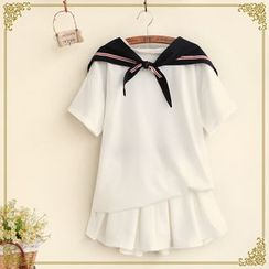 Fairyland - Set: Sailor Style Short-Sleeve Top + A-Line Skirt