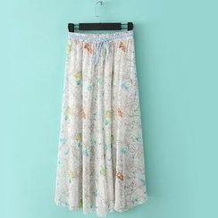 RainbowDay - Drawstring-Waist Printed Long Skirt