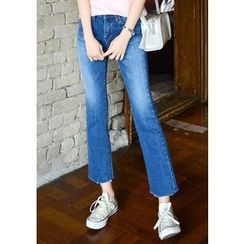 DEEPNY - Fray-Hem Semi Boot-Cut Jeans