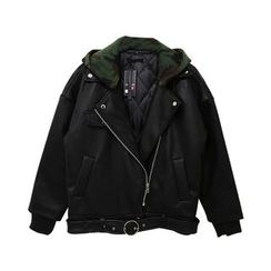 Mr. Cai - Faux-Leather Notched-Lapel Zip Jacket