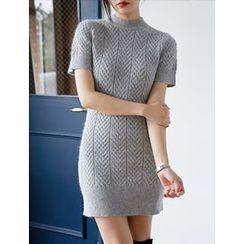 FROMBEGINNING - Short-Sleeve Knit Mini Bodycon Dress