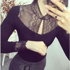 MayFair - Lace Panel Fleece Lined Long-Sleeve Top